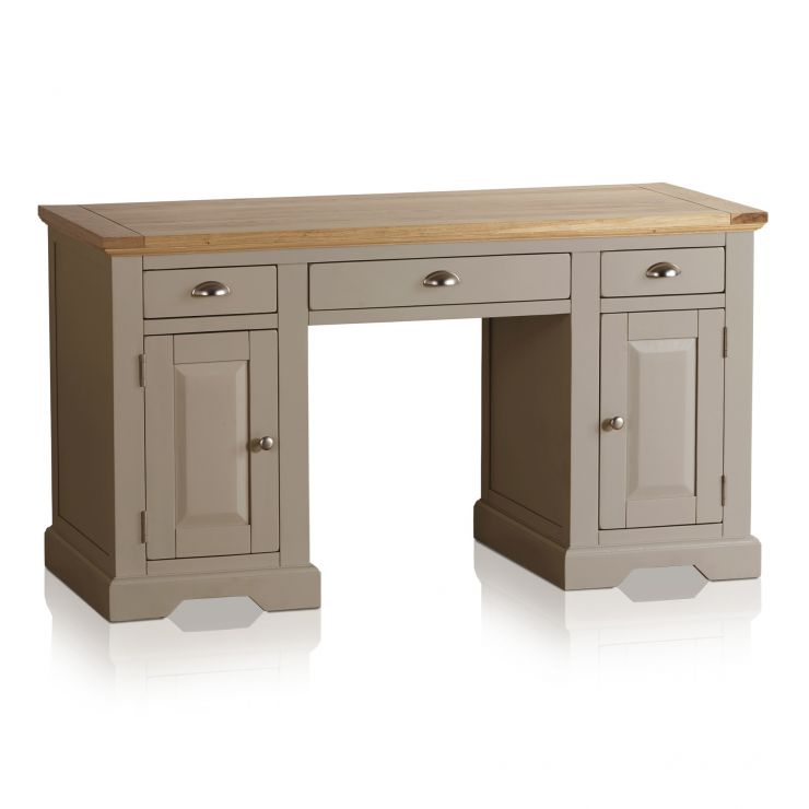 St Ives Natural Oak and Light Grey Painted Computer Desk - Image 4