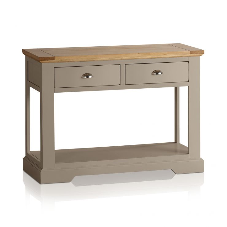 St Ives Natural Oak and Light Grey Painted Console Table - Image 4