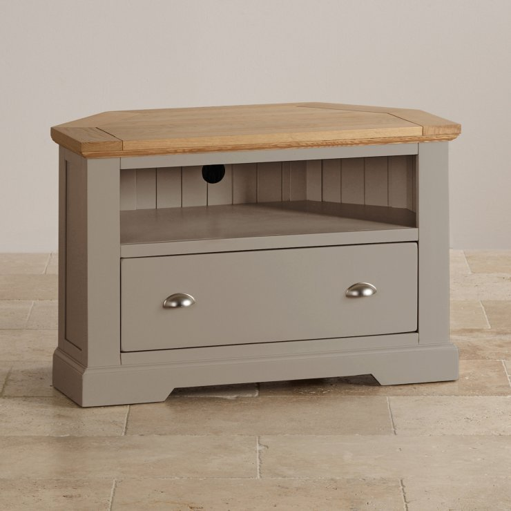 Express Delivery St Ives Natural Oak And Light Grey Painted Corner TV  Cabinet