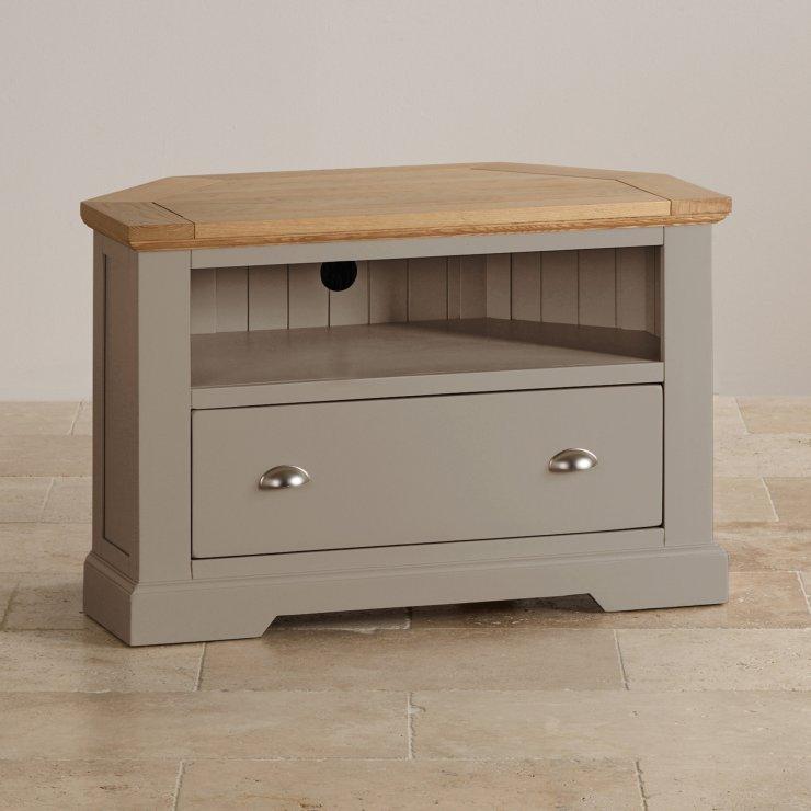 St Ives Natural Oak and Light Grey Painted Corner TV Cabinet