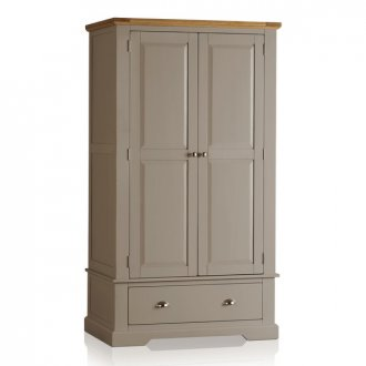 St Ives Natural Oak and Light Grey Painted Double Wardrobe