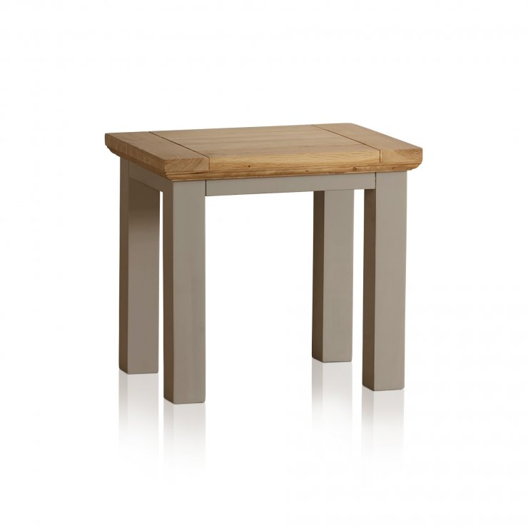 St Ives Natural Oak and Light Grey Painted Dressing Table Stool - Image 3