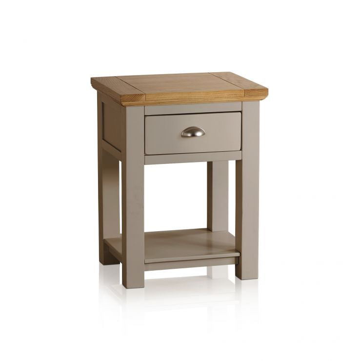 St Ives Natural Oak and Light Grey Painted Lamp Table - Image 1