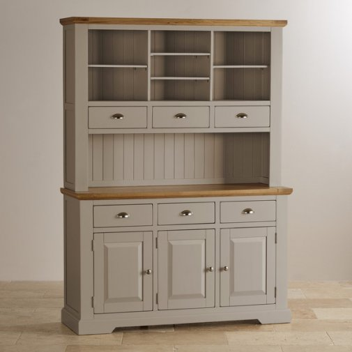 St Ives Natural Oak and Light Grey Painted Large Dresser