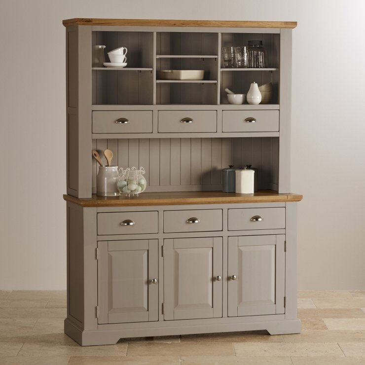 Express Delivery St Ives Natural Oak And Light Grey Painted Large Dresser