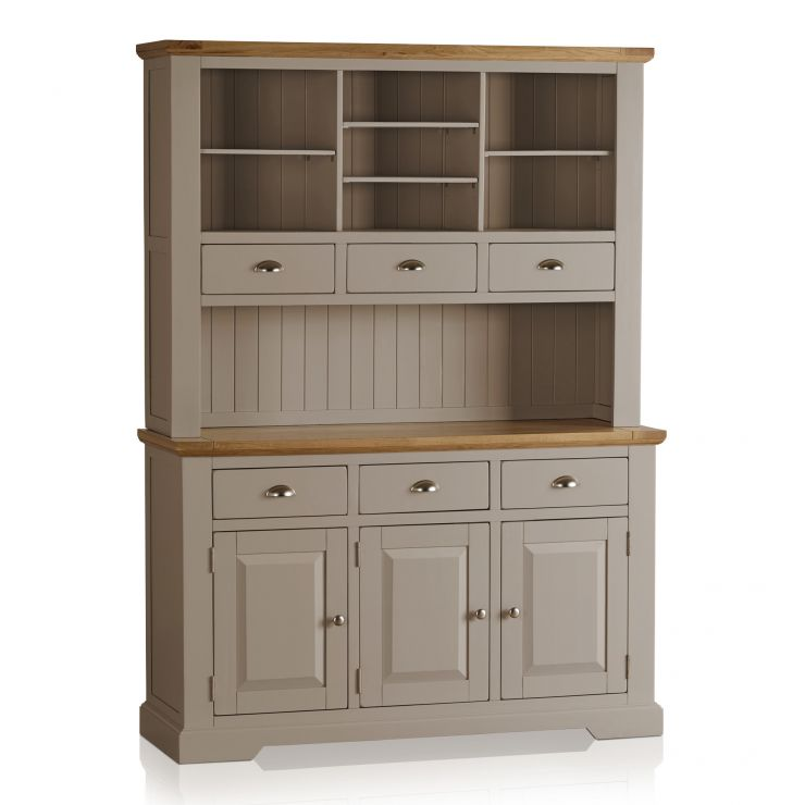 St Ives Natural Oak and Light Grey Painted Large Dresser - Image 6