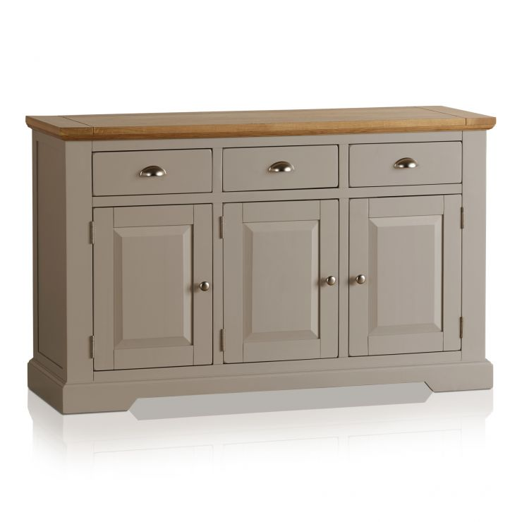 St Ives Natural Oak and Light Grey Painted Large Sideboard - Image 4