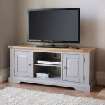 St Ives Natural Oak and Light Grey Painted Large TV Cabinet - Thumbnail 2