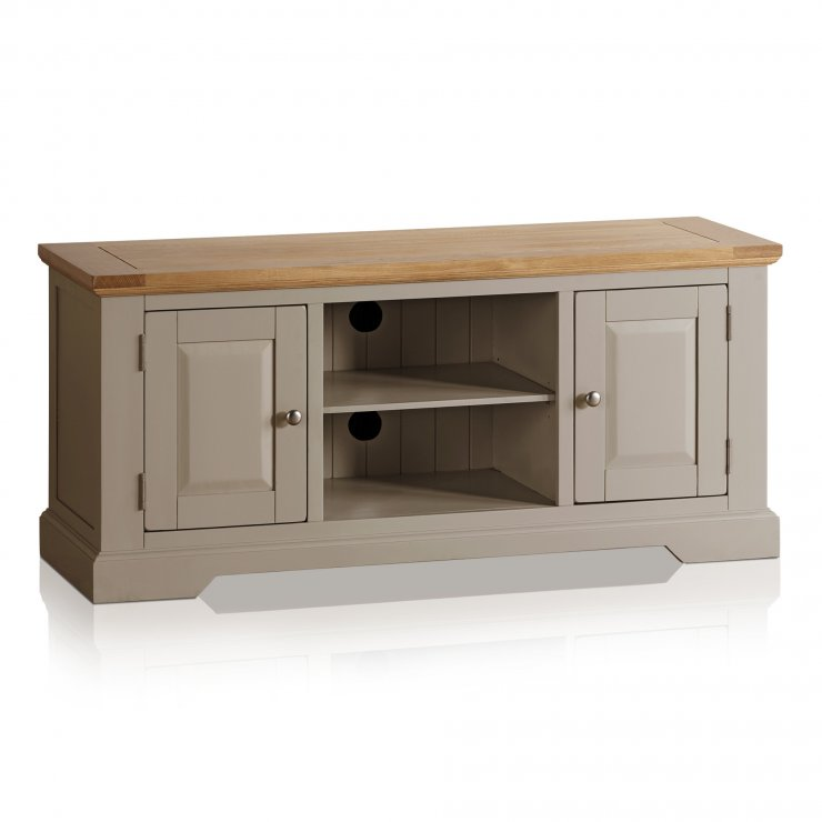 St Ives Natural Oak and Light Grey Painted Large TV Cabinet - Image 5