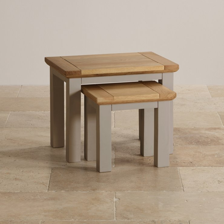 St Ives Natural Oak and Light Grey Painted Nest of Tables