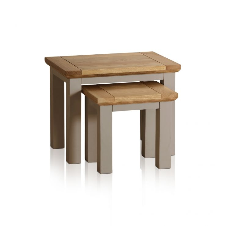 St Ives Natural Oak and Light Grey Painted Nest of Tables - Image 1