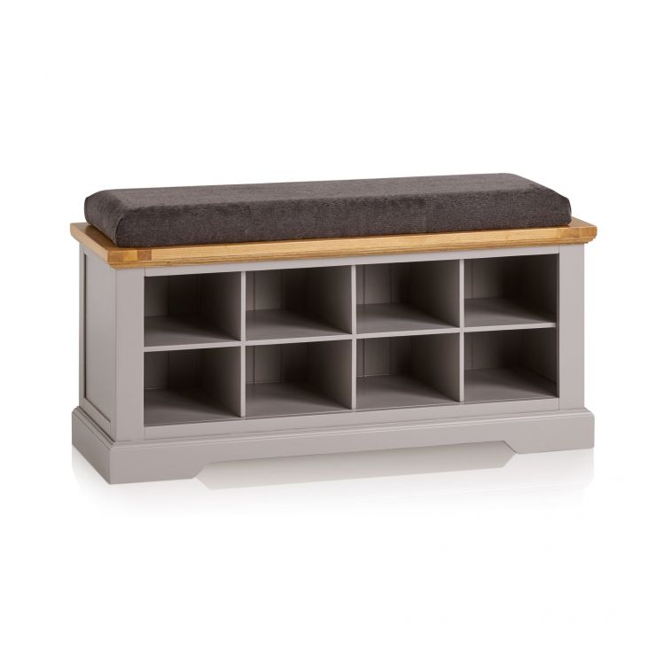 St Ives Natural Oak and Light Grey Painted Shoe Storage with Plain Charcoal Fabric Hallway Pad - Image 6