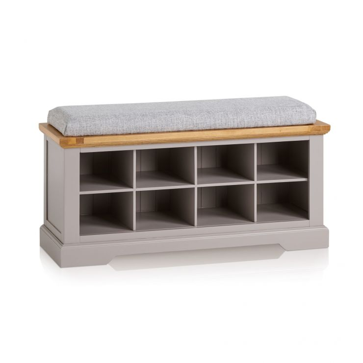 St Ives Natural Oak and Light Grey Painted Shoe Storage with Plain Grey Fabric Hallway Pad