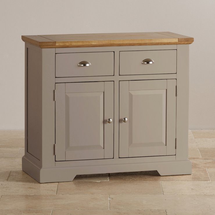 St Ives Natural Oak and Light Grey Painted Small Sideboard - Image 4
