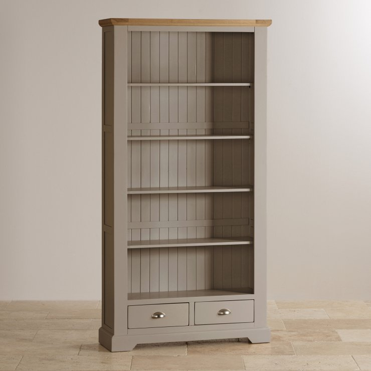 St Ives Natural Oak and Light Grey Painted Tall Bookcase - Image 3
