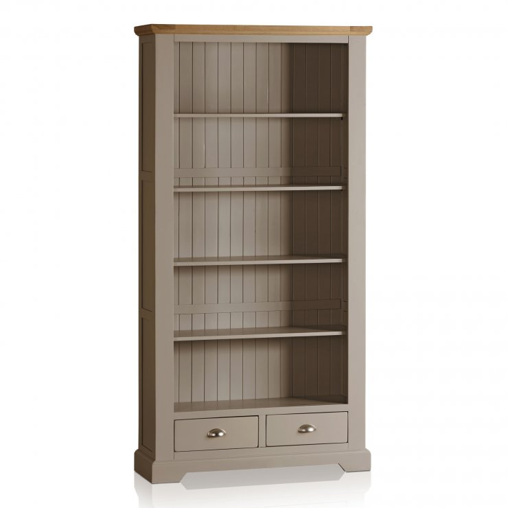 St Ives Natural Oak and Light Grey Painted Tall Bookcase - Image 4