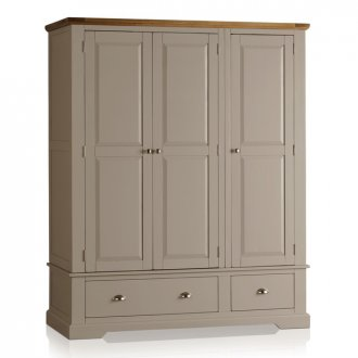 St Ives Natural Oak and Light Grey Painted Triple Wardrobe