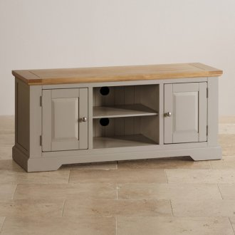 St Ives Natural Oak and Light Grey Painted Large TV Cabinet