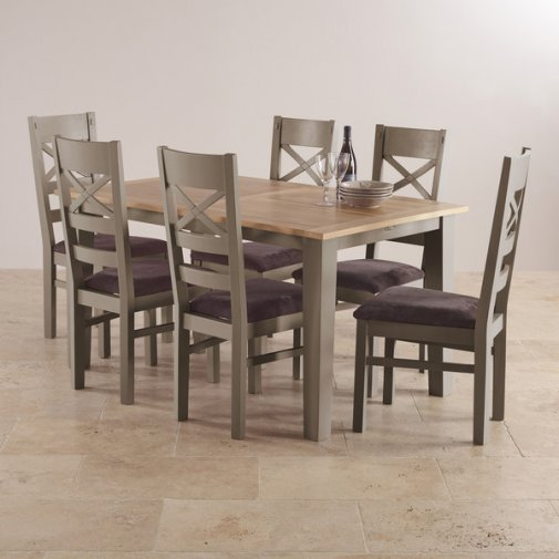 St. Ives Natural Oak and Grey Painted 5ft Extending Dining Table with 6 Fabric Chairs