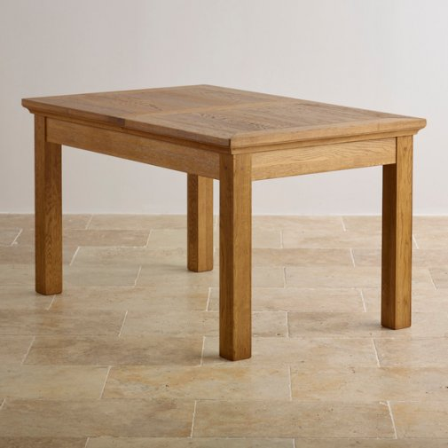"Taunton Rustic Solid Brushed Oak 4ft 7"" x 3ft Extending Dining Table"