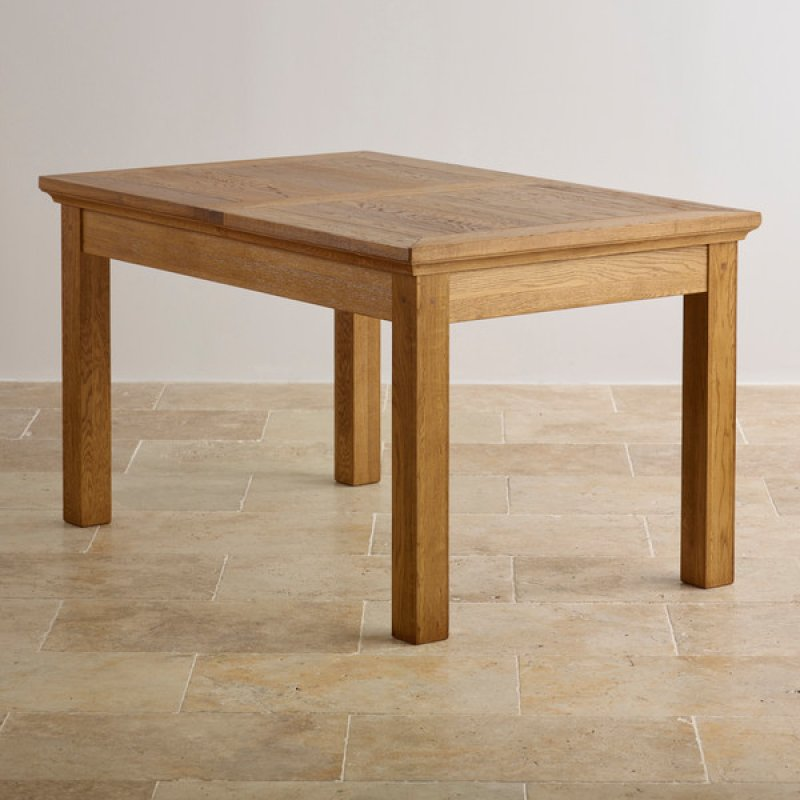 Extendable Dining Set In Rustic Brushed Solid Oak: Oak Furniture Land