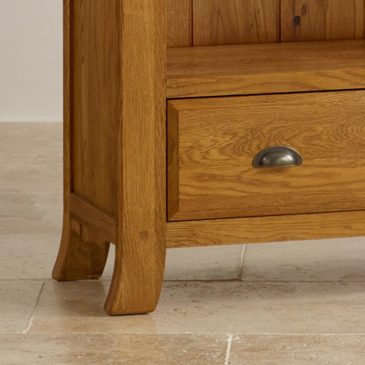 Taunton Rustic Brushed Solid Oak Tall Bookcase