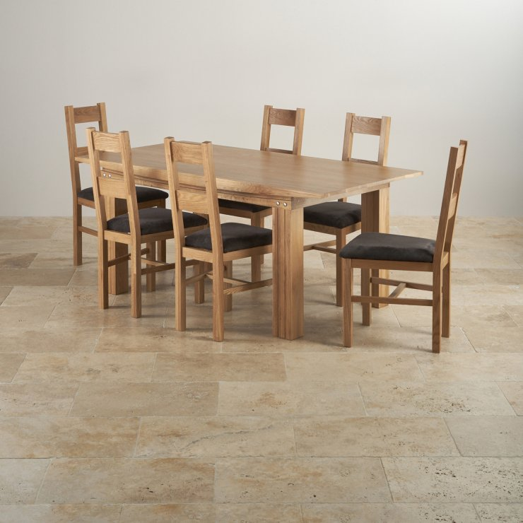 Tokyo Natural Solid Oak Dining Set - 6ft Table + 6 Fabric Chairs