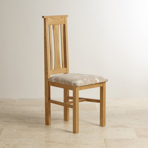 Tokyo Natural Solid Oak and Beige Patterned Fabric Dining Chair