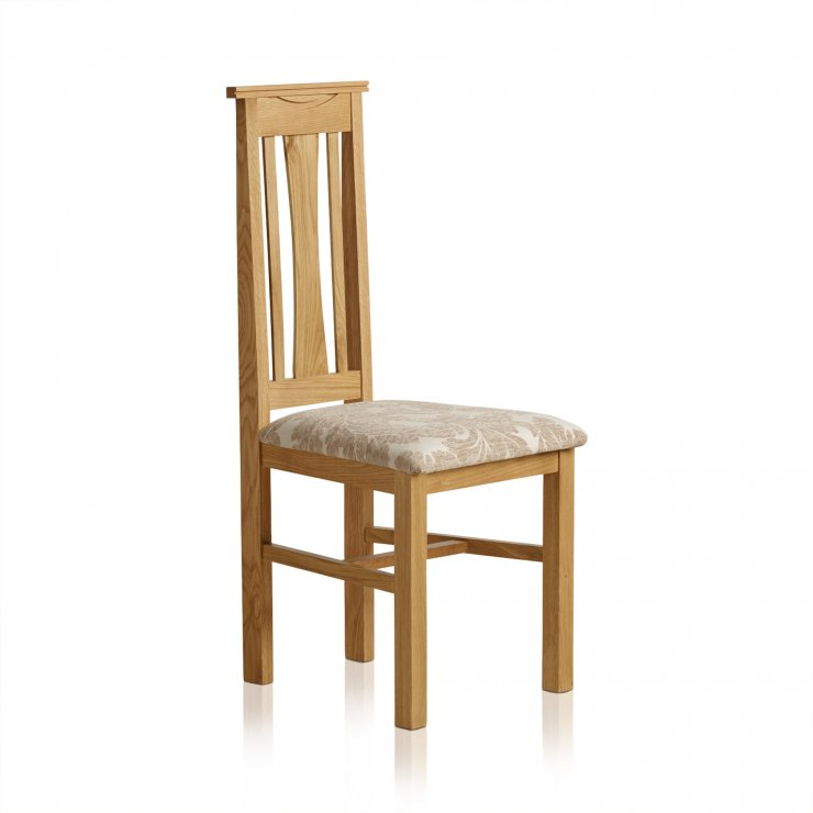 Tokyo Natural Solid Oak and Beige Patterned Fabric Dining Chair - Image 4