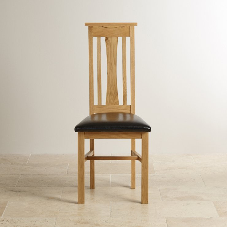 Tokyo Natural Solid Oak and Black Leather Dining Chair