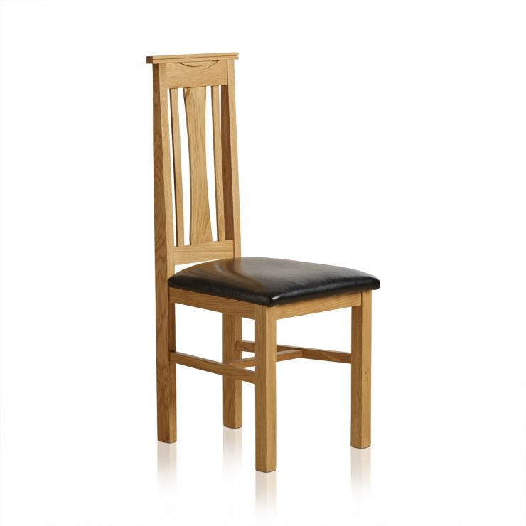 Tokyo Natural Solid Oak and Black Leather Dining Chair - Image 1