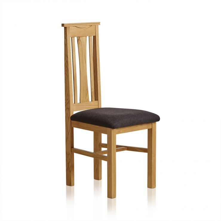 Tokyo Natural Solid Oak and Black Plain Fabric Dining Chair - Image 4