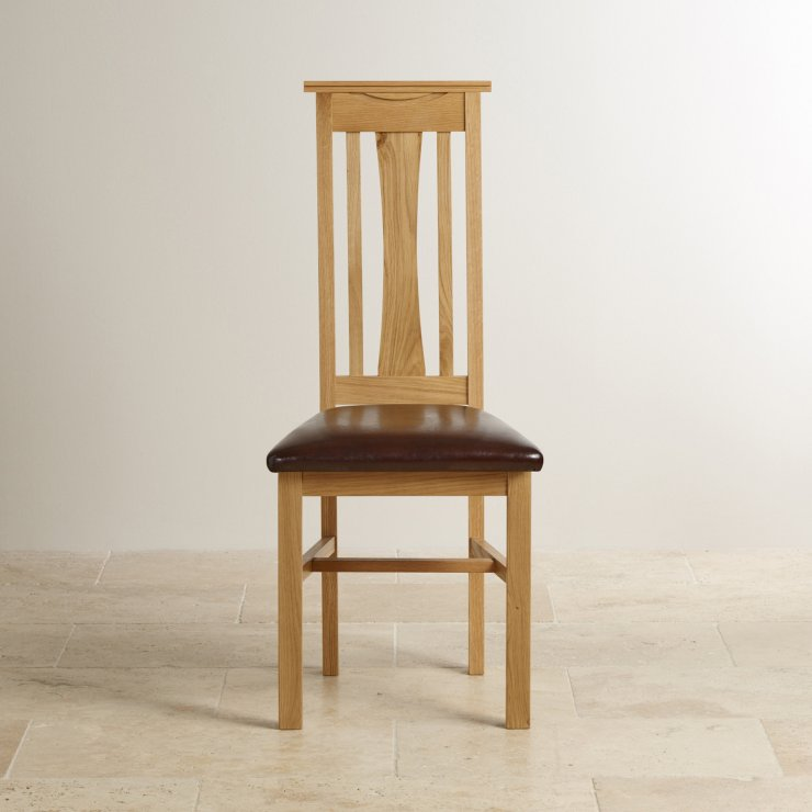 Tokyo Natural Solid Oak and Brown Leather Dining Chair