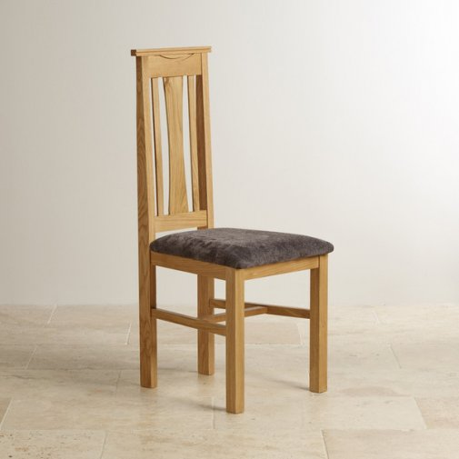 Tokyo Natural Solid Oak and Charcoal Plain Fabric Dining Chair