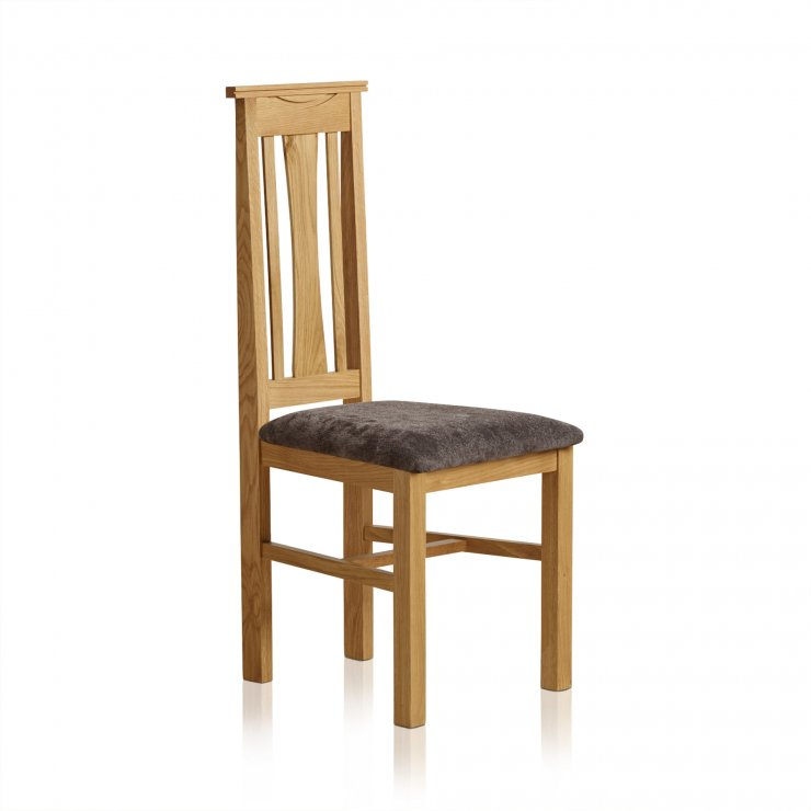 Tokyo Natural Solid Oak and Charcoal Plain Fabric Dining Chair - Image 4
