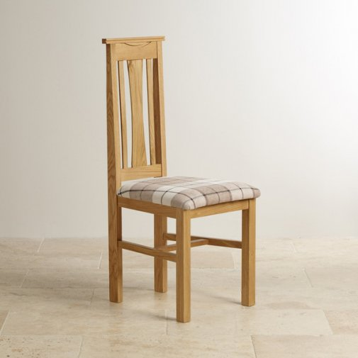 Tokyo Natural Solid Oak and Check Brown Fabric Chair