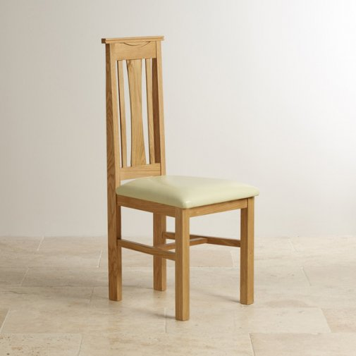 Tokyo Natural Solid Oak and Cream Leather Dining Chair