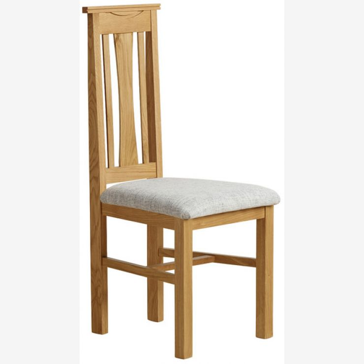 Tokyo Natural Solid Oak and Grey Plain Fabric Dining Chair - Image 5