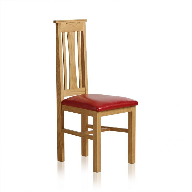 Tokyo Natural Solid Oak and Red Leather Dining Chair - Image 3