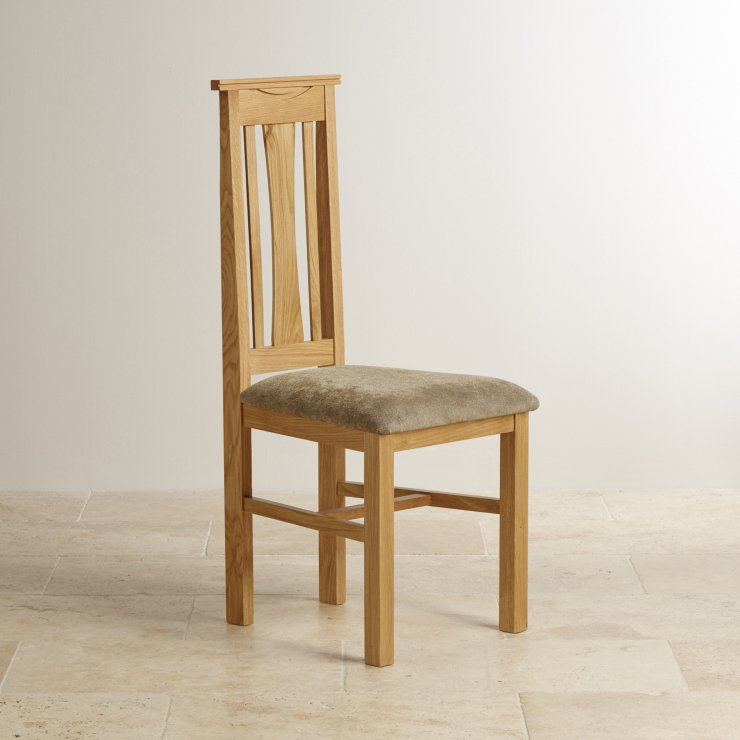 Tokyo Natural Solid Oak and Sage Plain Fabric Dining Chair