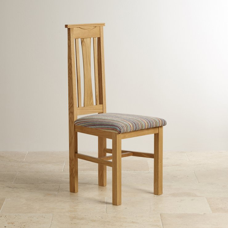 Tokyo Natural Solid Oak and Striped Multi-coloured Fabric Chair