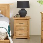 Tokyo Natural Solid Oak Bedside Table with 3 Drawers - Thumbnail 3