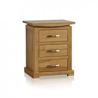 Tokyo Natural Solid Oak Bedside Table with 3 Drawers