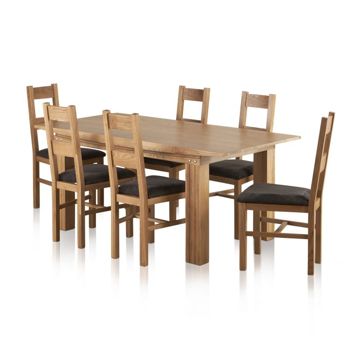 Tokyo Natural Solid Oak Dining Set - 6ft Table + 6 Fabric Chairs - Image 6