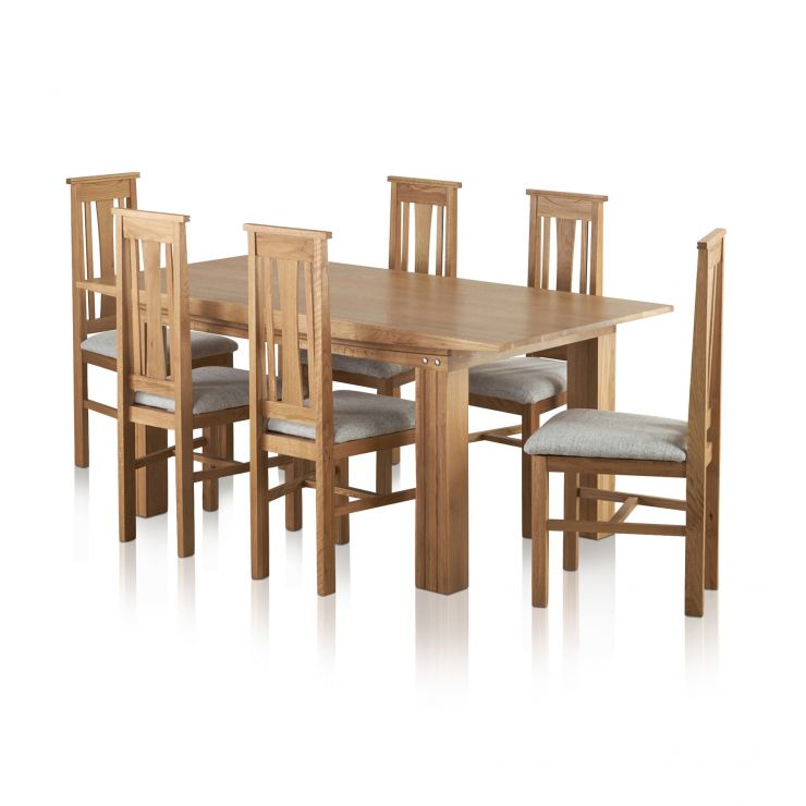 Tokyo Natural Solid Oak Dining Set - 6ft Table With 6 Tokyo Grey Fabric Chairs - Image 6