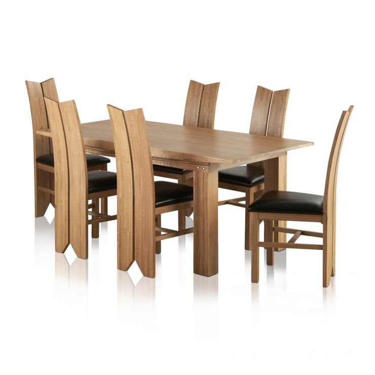 Tokyo Natural Solid Oak Dining Set - 6ft Table with 6 Tulip and Black Leather Chairs