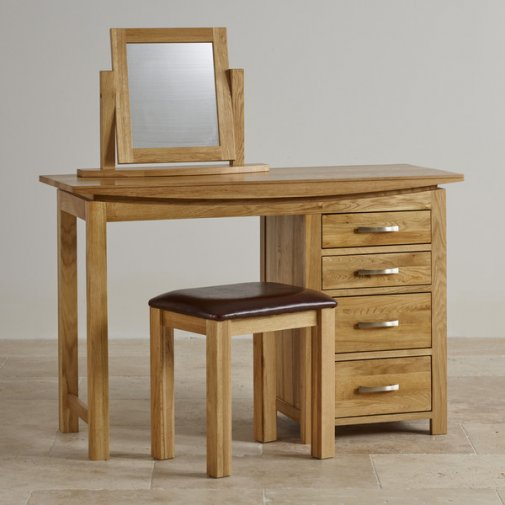 Tokyo Natural Solid Oak Dressing Table Set