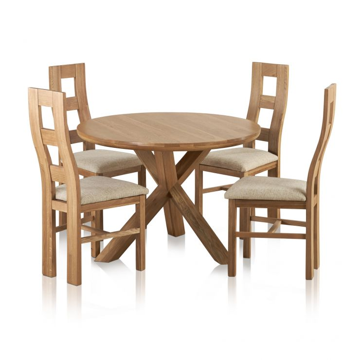 Trinity Natural Solid Oak Round Table with + 4 Wave Back and Plain Beige Fabric Dining Chairs
