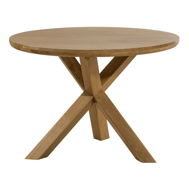 "Trinity Natural Solid Oak 3ft 7"" Round Table with Crossed Legs - Image 1"