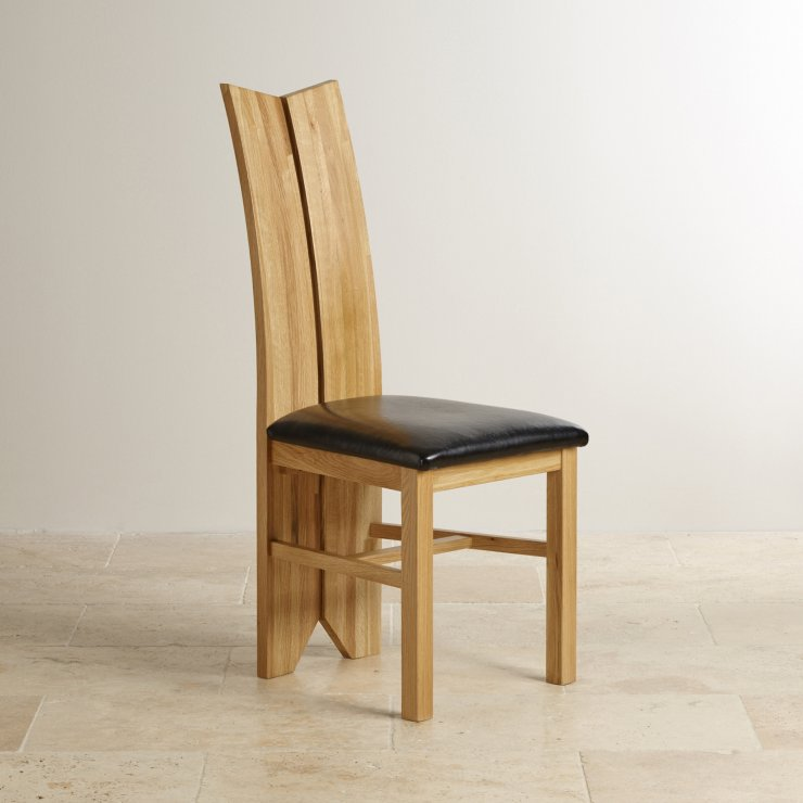 Tulip Natural Solid Oak and Black Leather Dining Chair